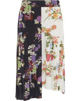 Inaya Pleated Printed Silk Crepe De Chine Skirt