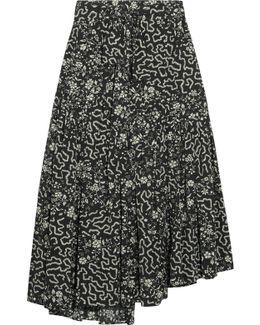 Grifol Printed Silk-blend Wrap Midi Skirt