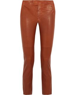 Covida Cropped Leather Slim-leg Pants