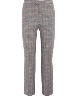 Nerys Cropped Plaid Cotton-blend Flared Pants