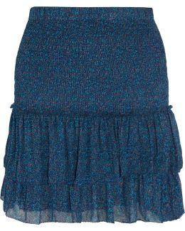Julia Shirred Printed Chiffon Mini Skirt
