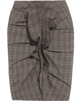 Noora Ruffled Plaid Stretch-cotton Skirt
