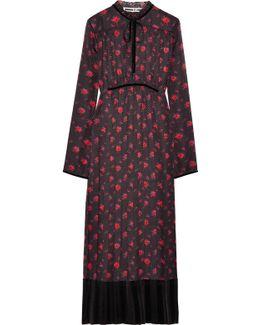 Velvet-trimmed Pleated Silk-jacquard Midi Dress