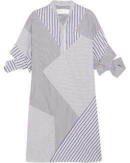 Paneled Striped Cotton-poplin Mini Dress