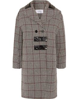 Patent Leather-trimmed Checked Wool-blend Coat