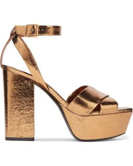 Farrah Metallic Cracked-leather Platform Sandals