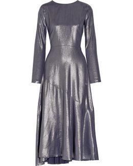 Wrap-effect Lamé Midi Dress