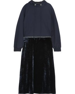 Convertible Cotton-jersey And Velvet Hooded Midi Dress