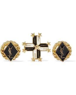 Gold-tone Enamel Earrings