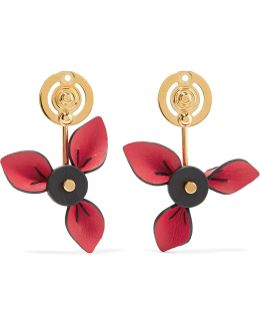 Gold-plated And Leather Earrings