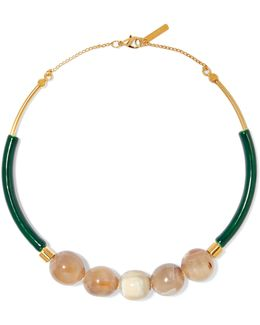 Gold-plated, Resin And Horn Necklace