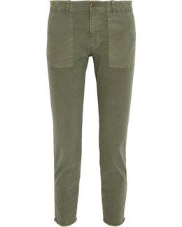 Jenna Cropped Stretch-cotton Twill Slim-leg Pants