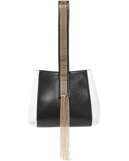 Chaine Two-tone Leather Wristlet Bag