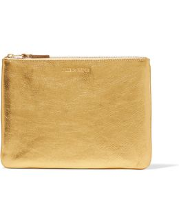 Metallic Textured-leather Pouch