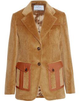 Leather-trimmed Cotton-corduroy Blazer
