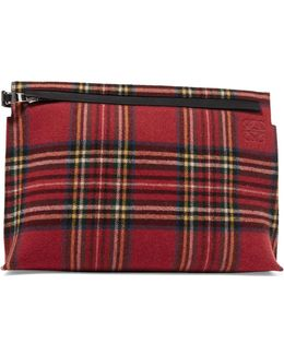 T Leather And Tartan Felt Pouch