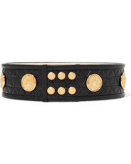 Embellished Quilted Leather Belt