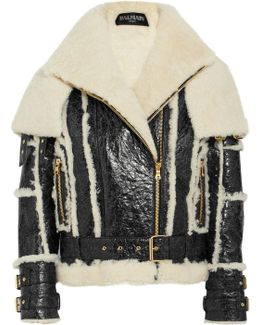 Oversized Cracked-leather And Shearling Jacket