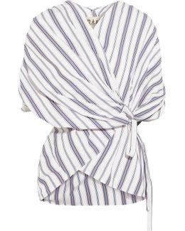 Striped Cotton-poplin Wrap Top
