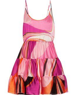 Libellula Ruffled Printed Silk-organza Mini Dress
