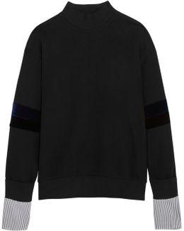 Velvet And Striped Poplin-paneled Cotton-jersey Sweatshirt