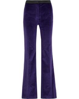Satin-trimmed Cotton-velvet Flared Pants