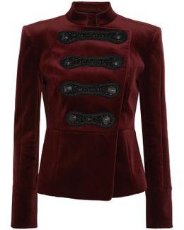 Drummer Boy Embellished Cotton-blend Velvet Jacket