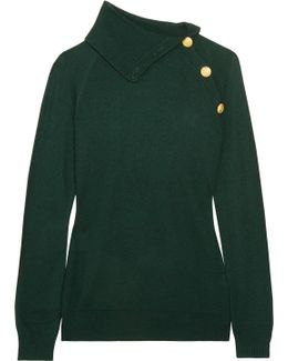 Button-detailed Stretch-knit Sweater