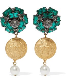 Gold-tone, Crystal And Faux Pearl Clip Earrings