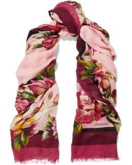 Floral-print Modal And Cashmere-blend Gauze Scarf