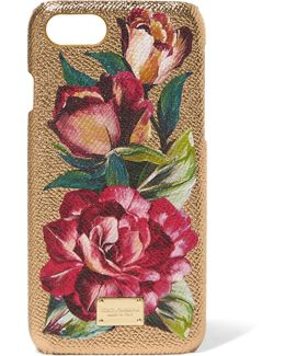 Textured-leather And Metallic Floral-print Acrylic Iphone 7 Case