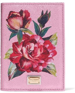 Floral-print Metallic Textured-leather Passport Cover