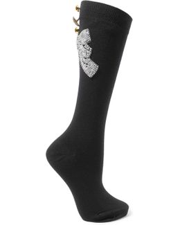 Embellished Wool-blend Socks