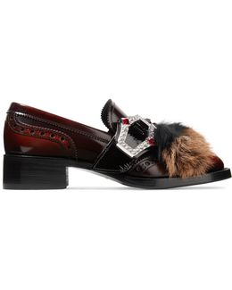 Shearling And Goat Hair-trimmed Burnished-leather Brogues