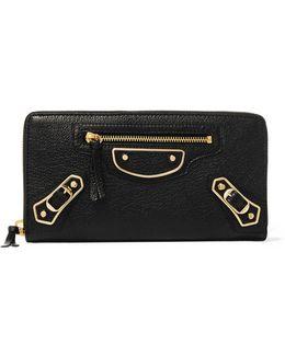 Metallic Edge Textured-leather Continental Wallet