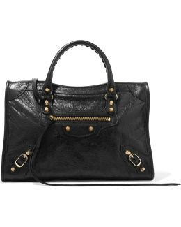 Classic City Small Textured-leather Tote