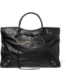 Classic City Large Textured-leather Tote