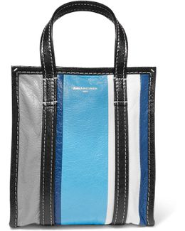 Bazar Xs Striped Textured-leather Tote