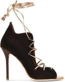 Savannah Metallic Leather-trimmed Velvet Sandals