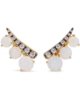 18-karat Gold, Opal And Diamond Earrings