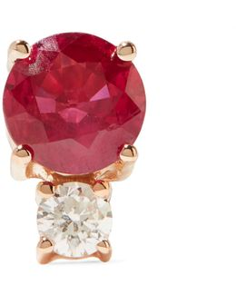 18-karat Rose Gold, Diamond And Ruby Earring
