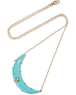 Crescent Moon 14-karat Gold, Turquoise And Diamond Necklace