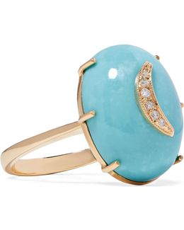 Crescent Moon 14-karat Gold, Turquoise And Diamond Ring