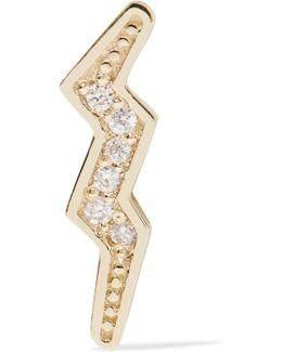 Mini Bolt 14-karat Gold Diamond Earring