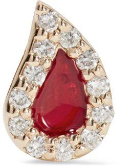 Blood Drop Enameled 14-karat Gold Diamond Earring