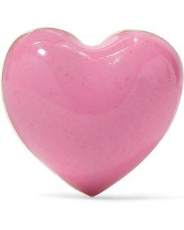 Pink Heart Enameled 14-karat Gold Earring