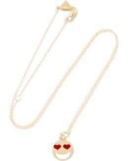 Lovestruck Enameled 14-karat Gold Necklace