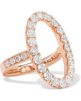 Oval Halo 18-karat Rose Gold Diamond Ring