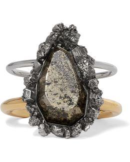 Silver And Gold-tone Stone Cuff