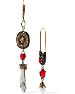 Gold-tone, Swarovski Crystal And Faux Pearl Earrings